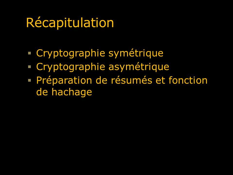 Récapitulation Cryptographie symétrique Cryptographie asymétrique