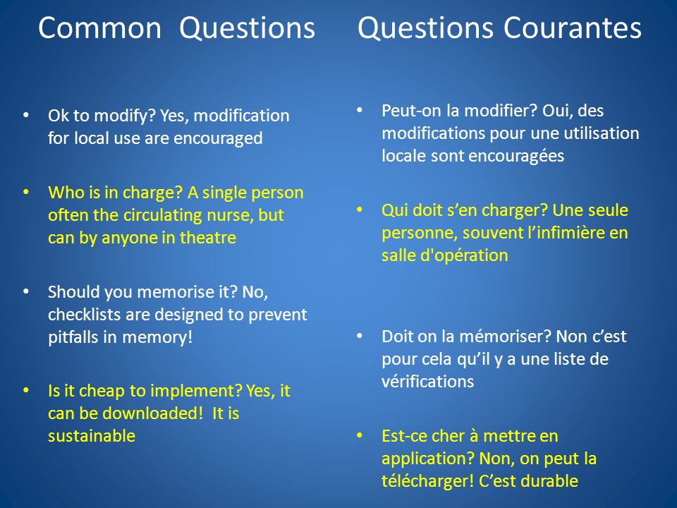 Common Questions Questions Courantes