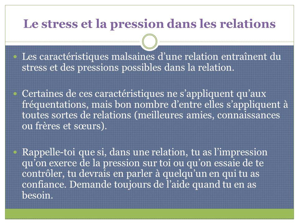 Le stress et la pression dans les relations
