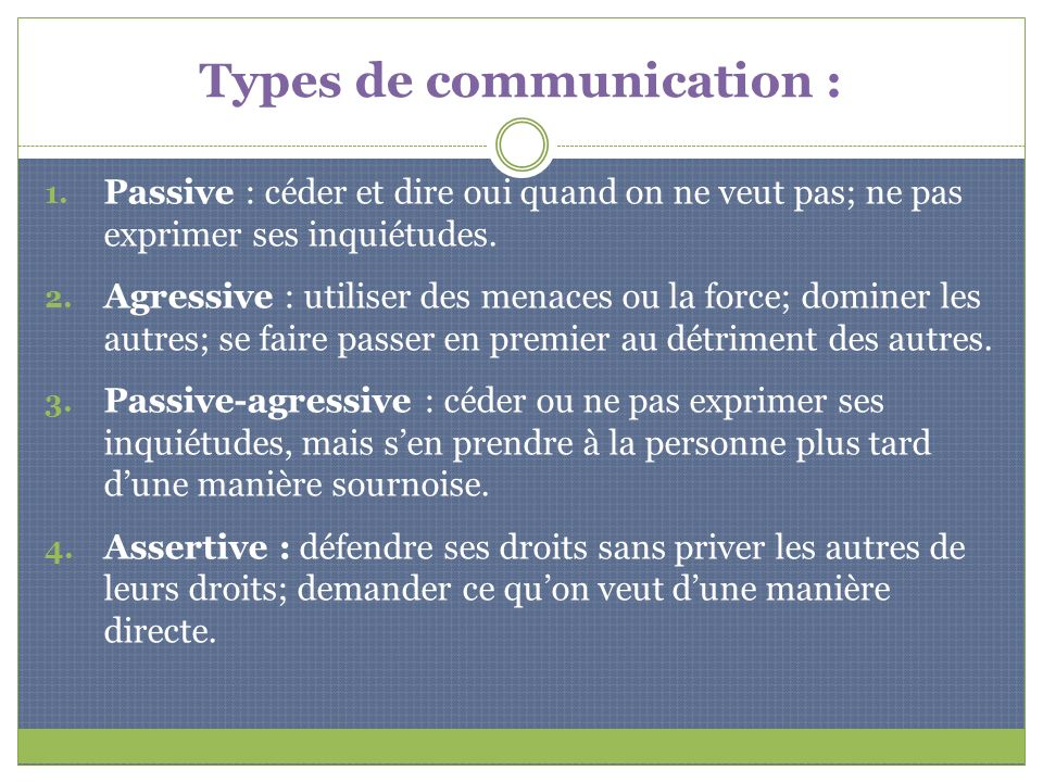 Types de communication :