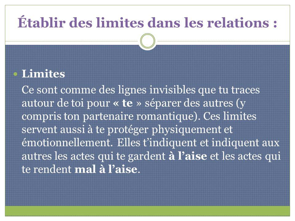 Établir des limites dans les relations :