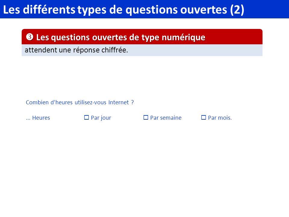 Les différents types de questions ouvertes (2)