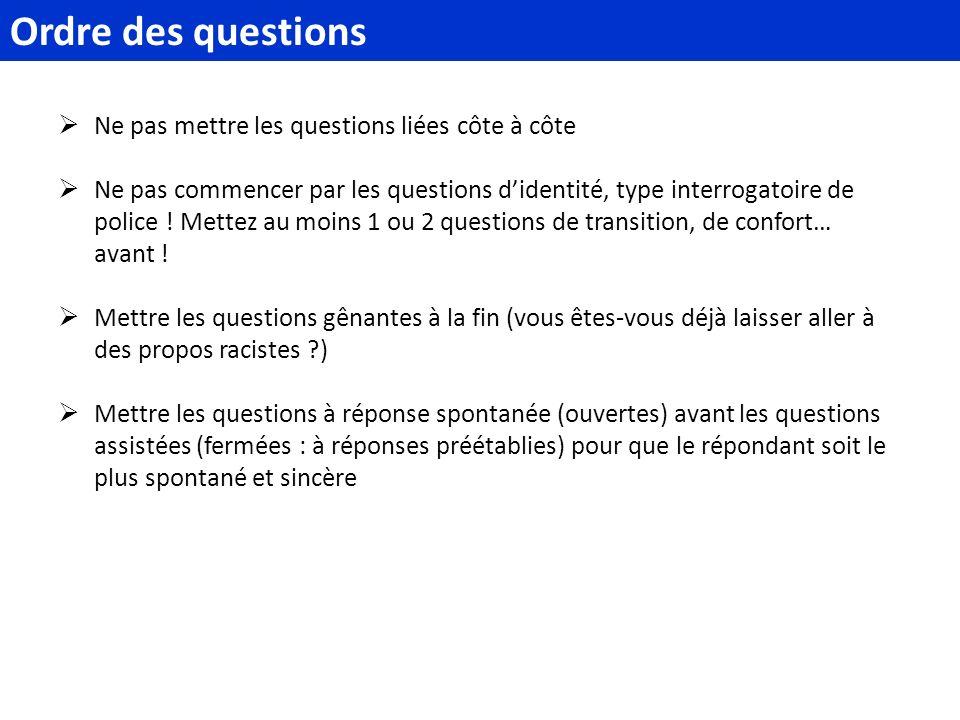Ordre des questions Ne pas mettre les questions liées côte à côte