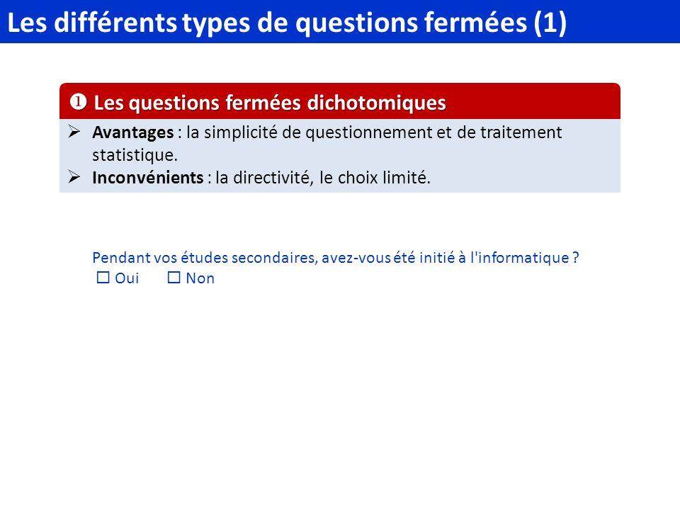 Les différents types de questions fermées (1)