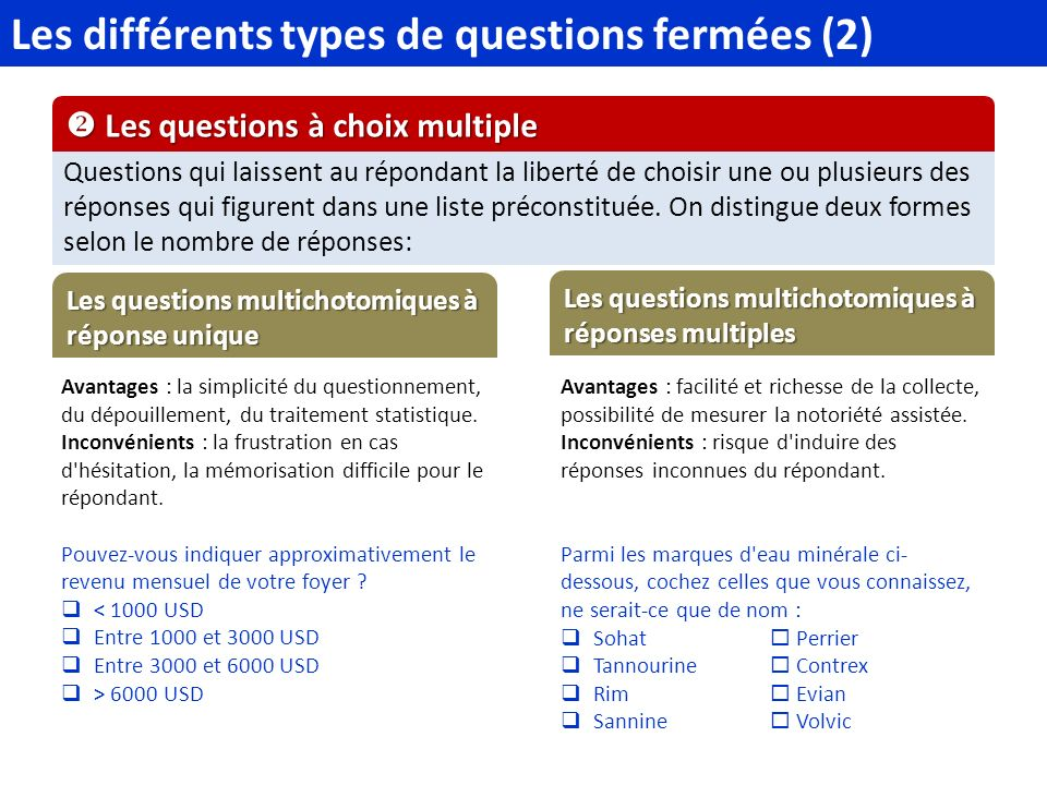 Les différents types de questions fermées (2)