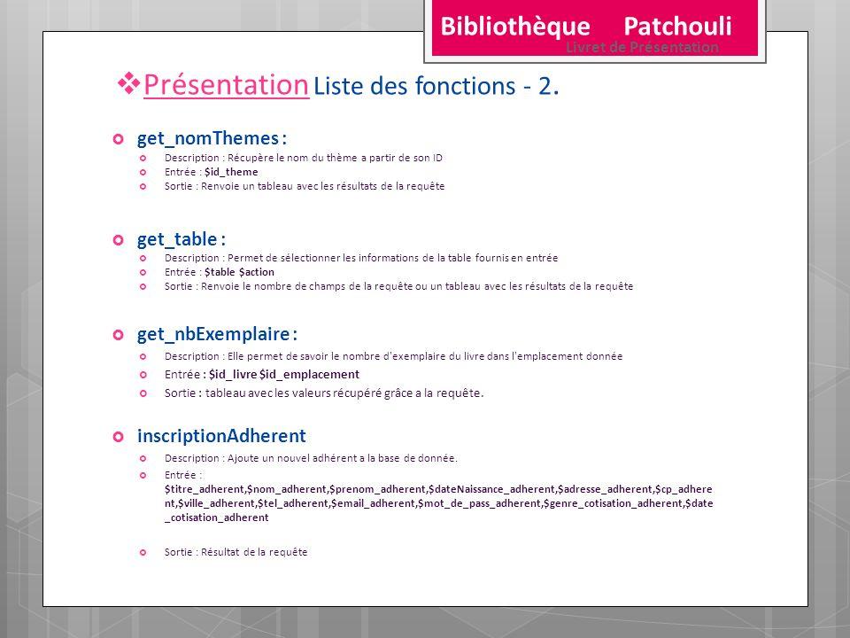 Présentation Liste des fonctions - 2.