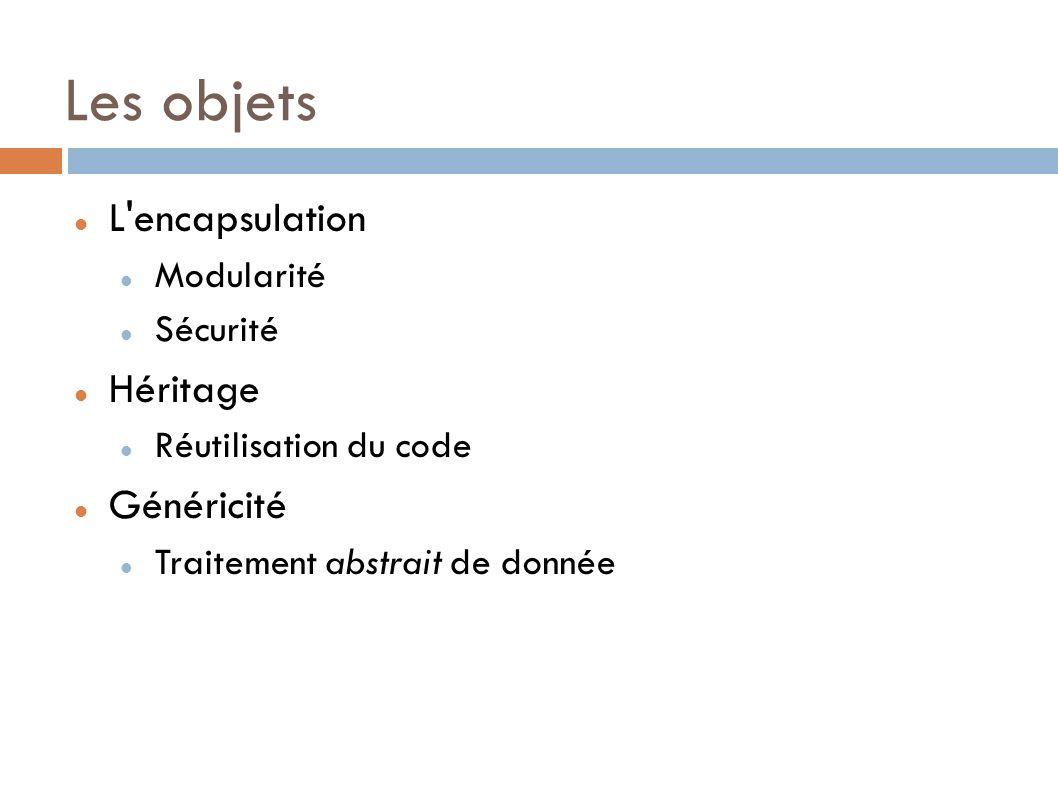 Les objets L encapsulation Héritage Généricité Modularité Sécurité