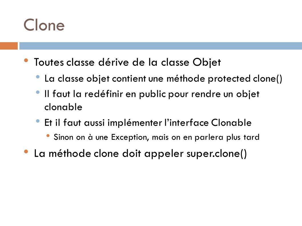 Clone Toutes classe dérive de la classe Objet