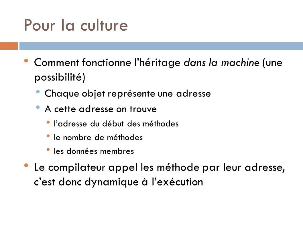 Pour la culture Comment fonctionne l'héritage dans la machine (une possibilité) Chaque objet représente une adresse.