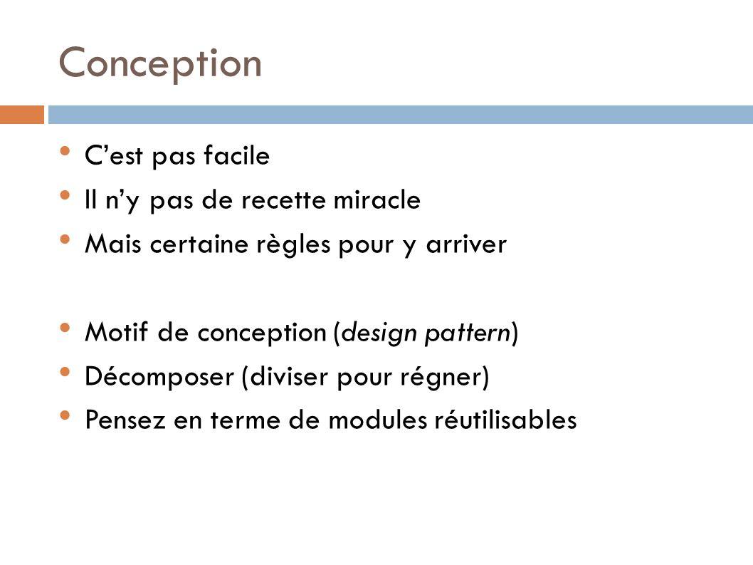 Conception C'est pas facile Il n'y pas de recette miracle