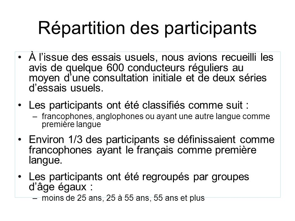 Répartition des participants