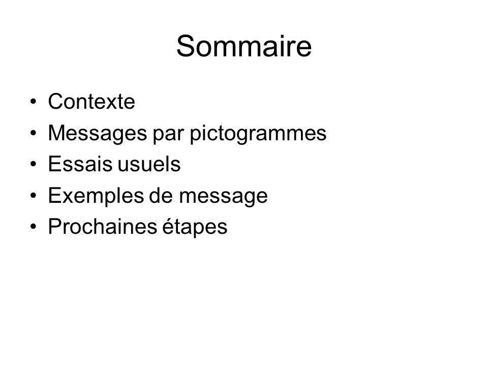 Sommaire Contexte Messages par pictogrammes Essais usuels