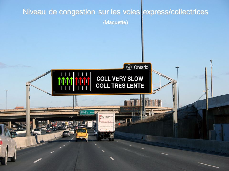 Niveau de congestion sur les voies express/collectrices