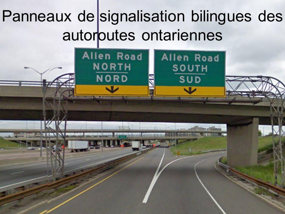 Panneaux de signalisation bilingues des autoroutes ontariennes