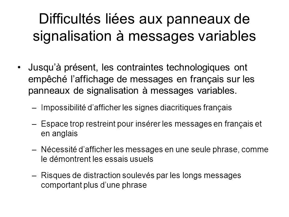 Difficultés liées aux panneaux de signalisation à messages variables