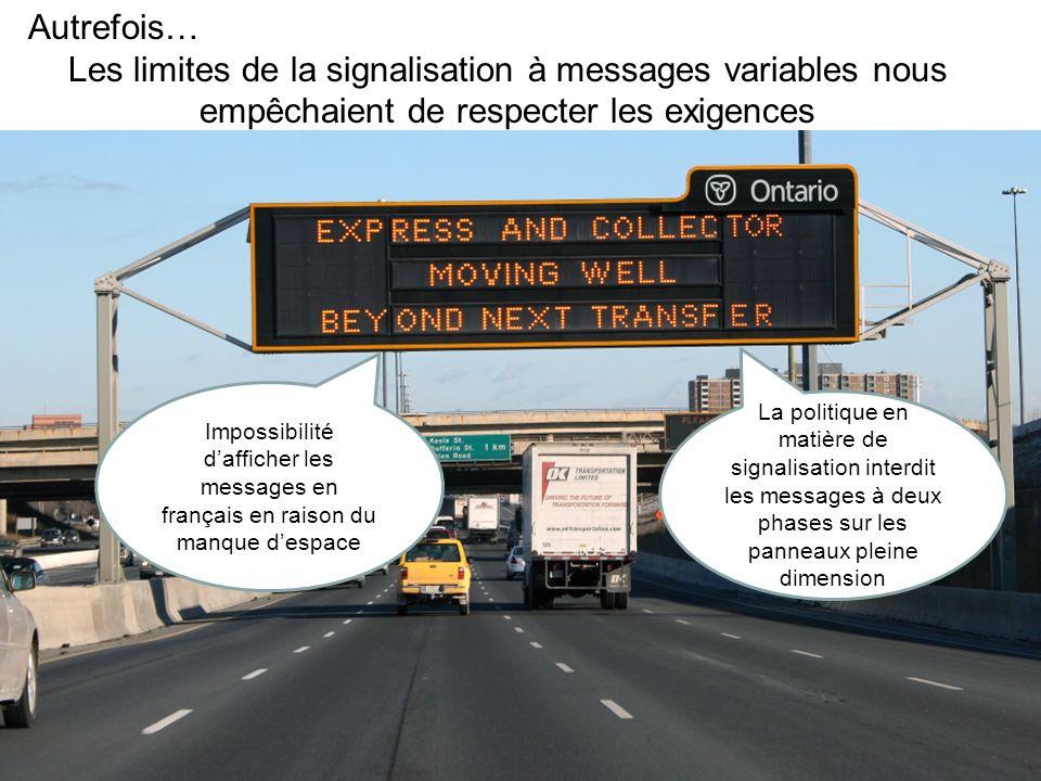 Autrefois… Les limites de la signalisation à messages variables nous empêchaient de respecter les exigences.