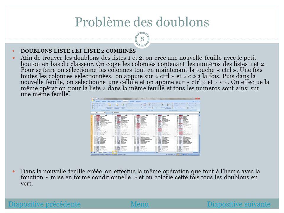 Problème des doublons Diapositive précédente Menu Diapositive suivante
