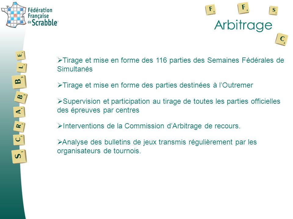 Arbitrage Tirage et mise en forme des 116 parties des Semaines Fédérales de Simultanés. Tirage et mise en forme des parties destinées à l'Outremer.