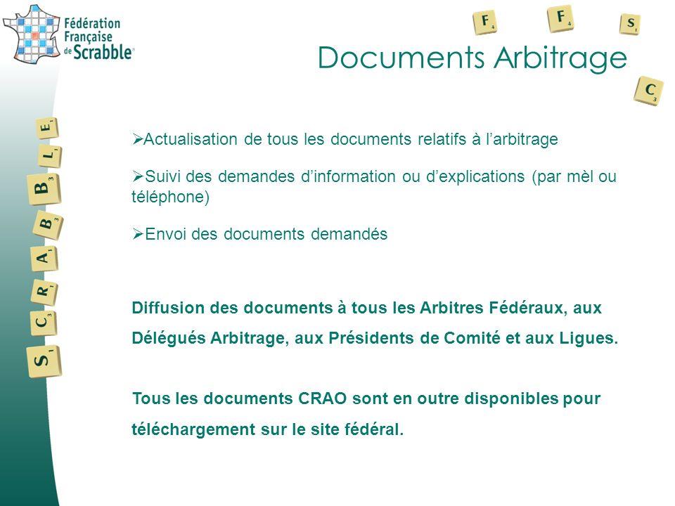Documents Arbitrage Actualisation de tous les documents relatifs à l'arbitrage.
