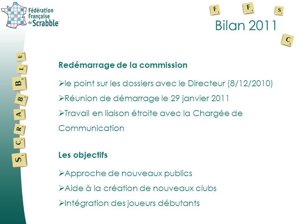 Bilan 2011 Redémarrage de la commission