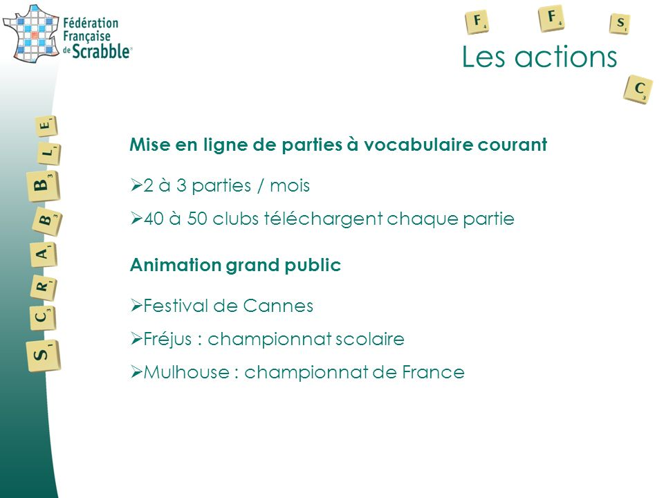 Les actions Mise en ligne de parties à vocabulaire courant