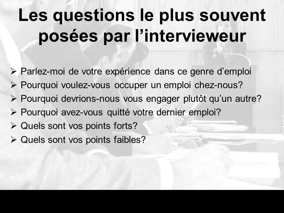 Les questions le plus souvent posées par l'intervieweur