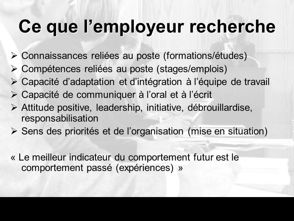 Ce que l'employeur recherche