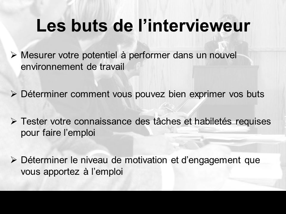 Les buts de l'intervieweur