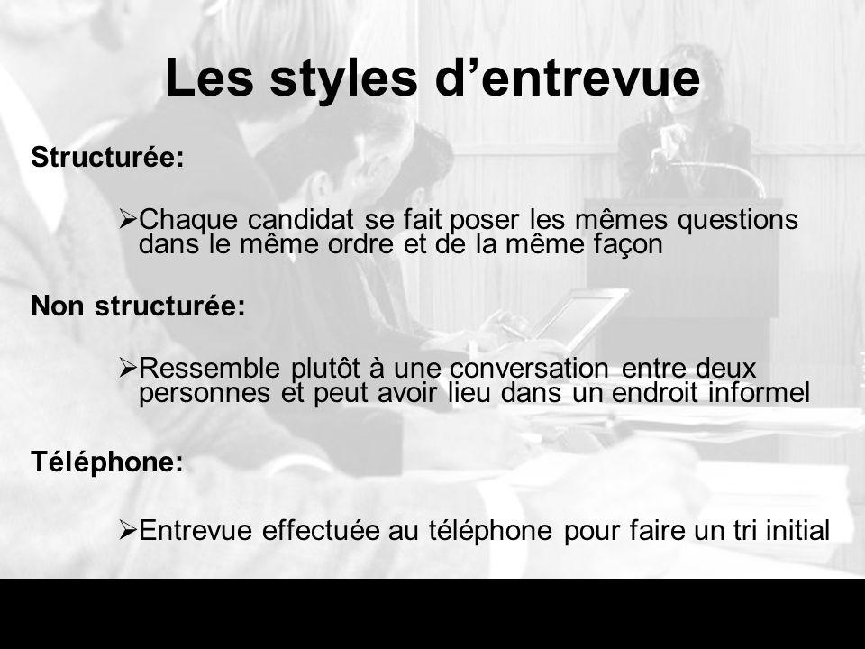 Les styles d'entrevue Structurée: