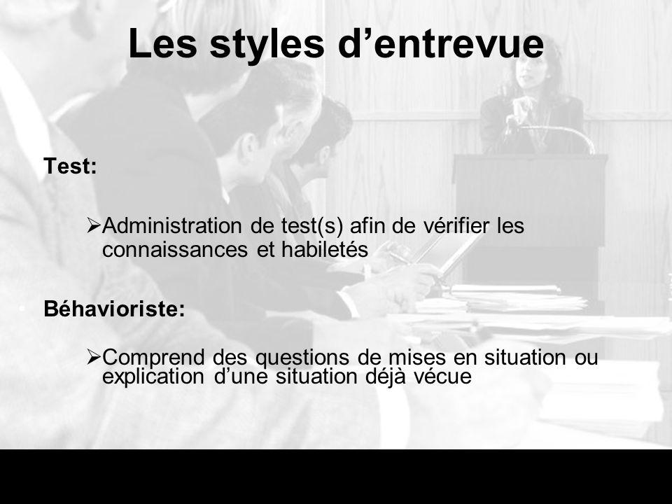Les styles d'entrevue Test: