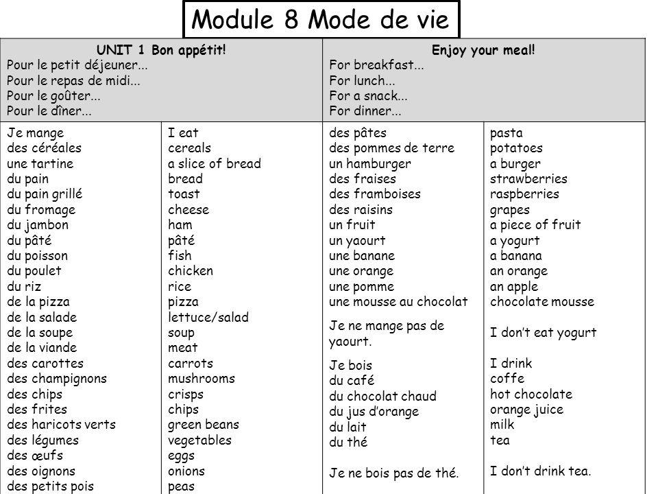 Module 8 Mode de vie UNIT 1 Bon appétit! Pour le petit déjeuner...