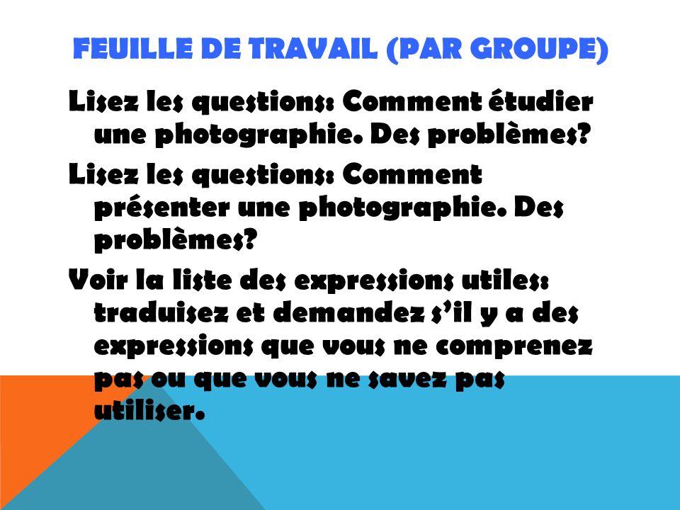 FEUILLE DE TRAVAIL (par groupe)