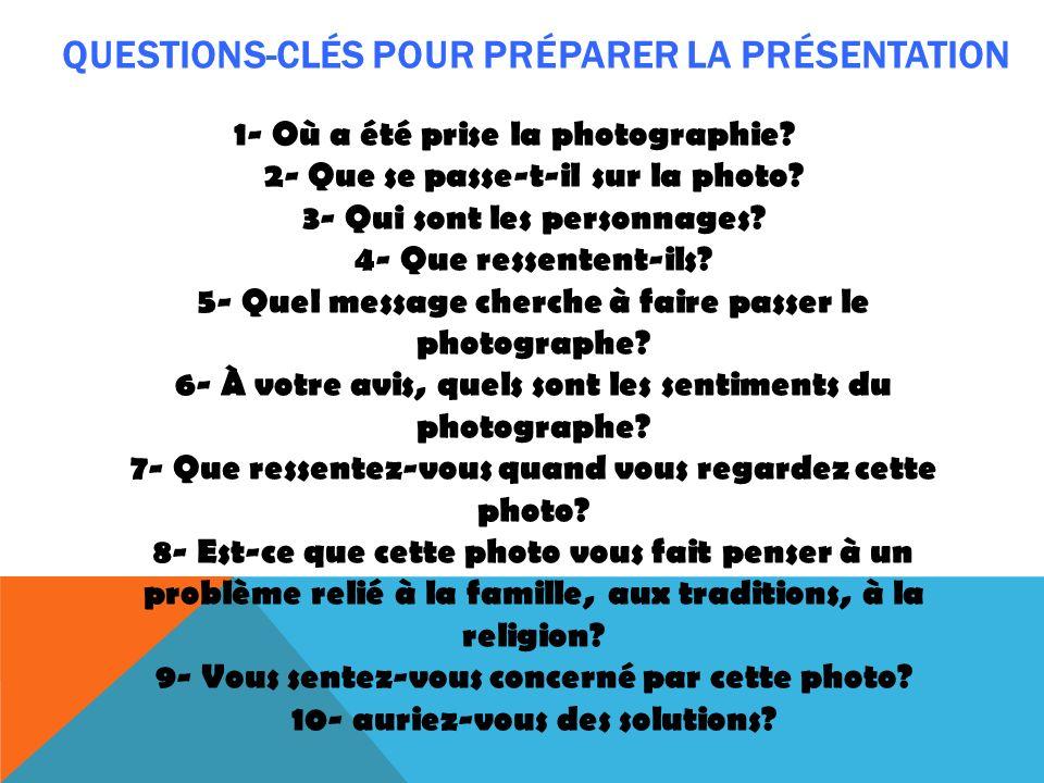 Questions-clÉS POUR PRÉPARER LA PRÉSENTATION