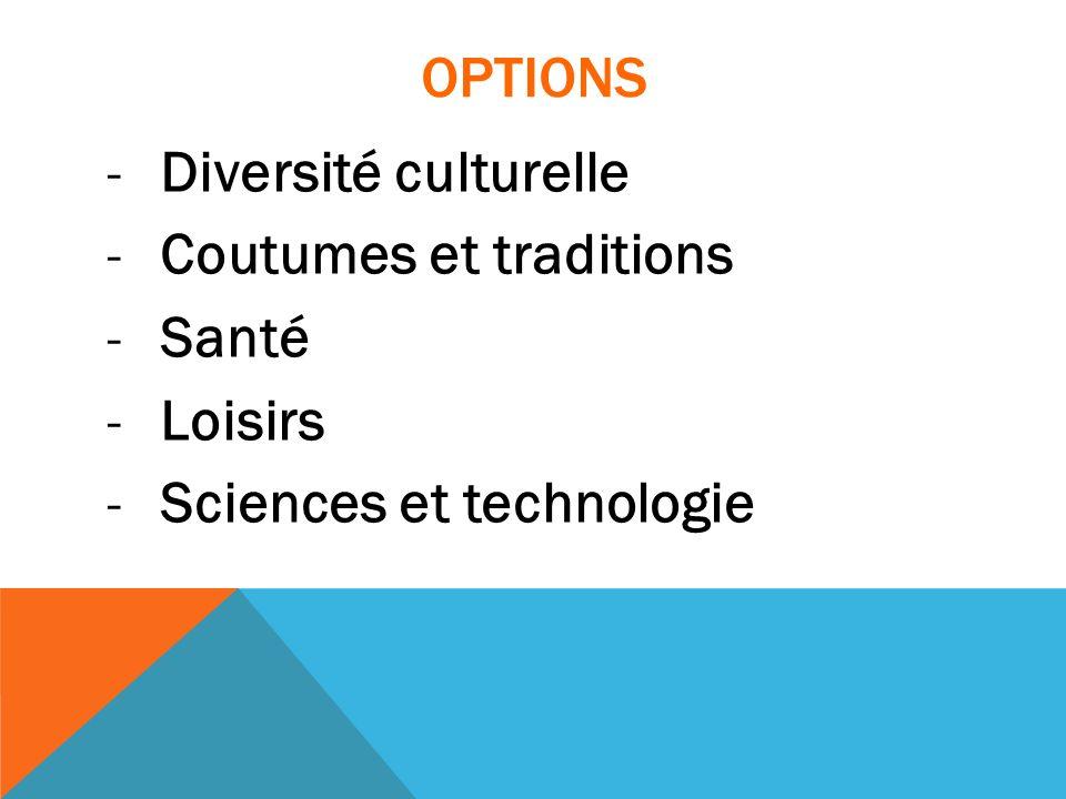 OPTIONS Diversité culturelle Coutumes et traditions Santé Loisirs Sciences et technologie