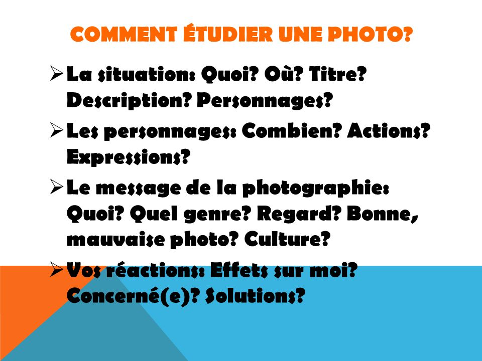 Comment étudier une photo