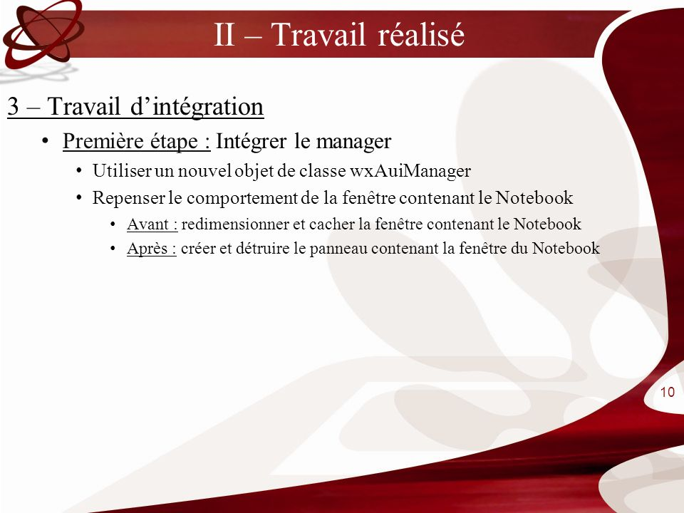 II – Travail réalisé 3 – Travail d'intégration