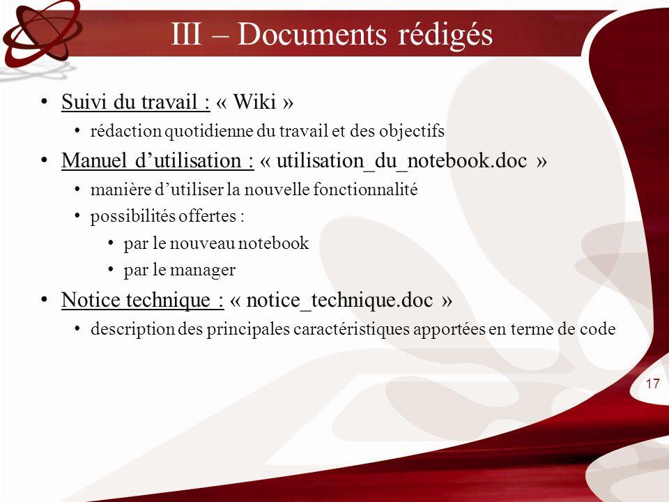 III – Documents rédigés