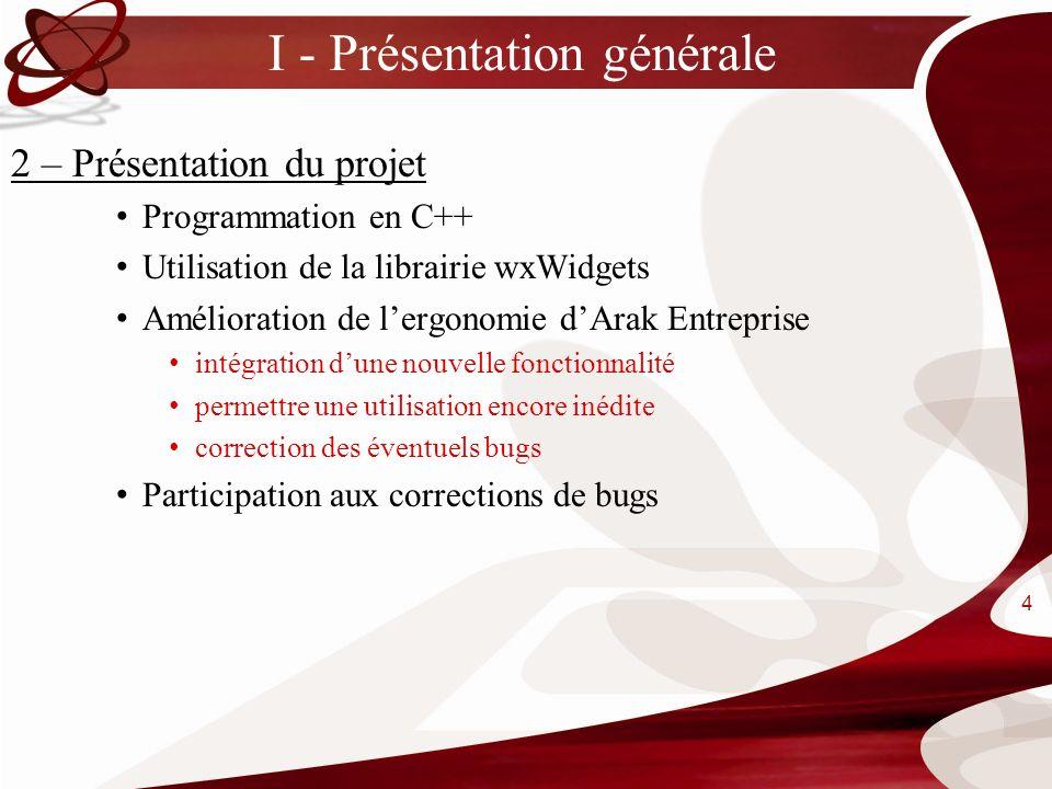 I - Présentation générale