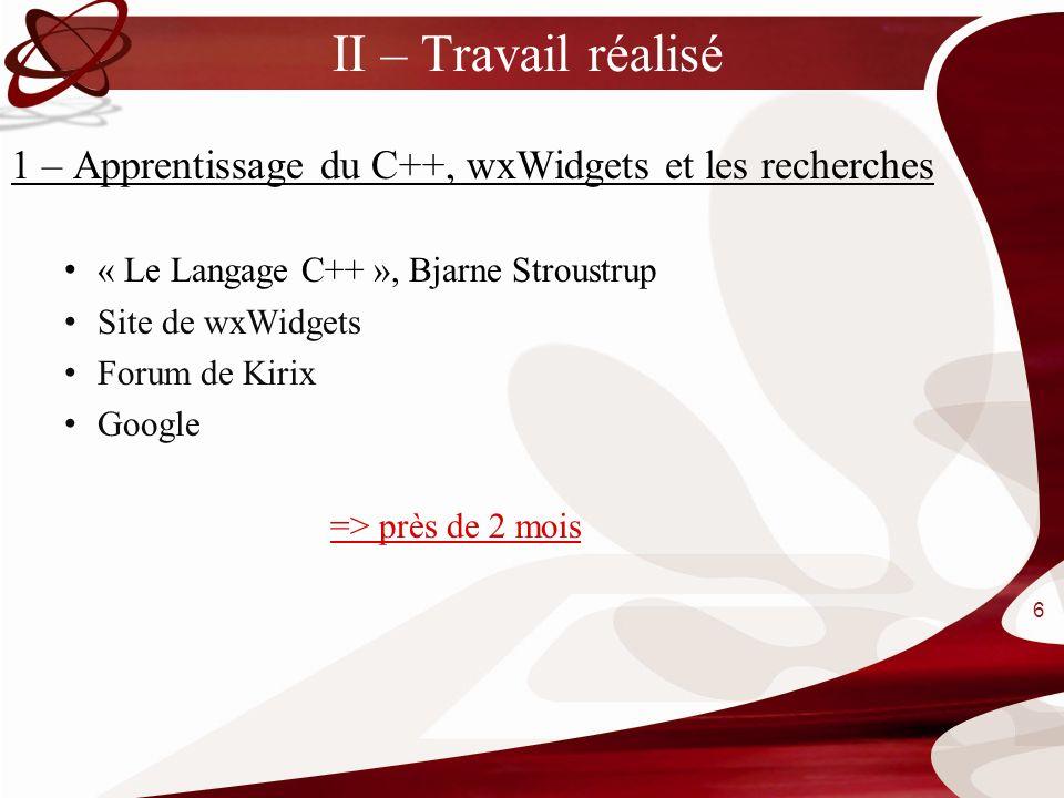 II – Travail réalisé 1 – Apprentissage du C++, wxWidgets et les recherches. « Le Langage C++ », Bjarne Stroustrup.