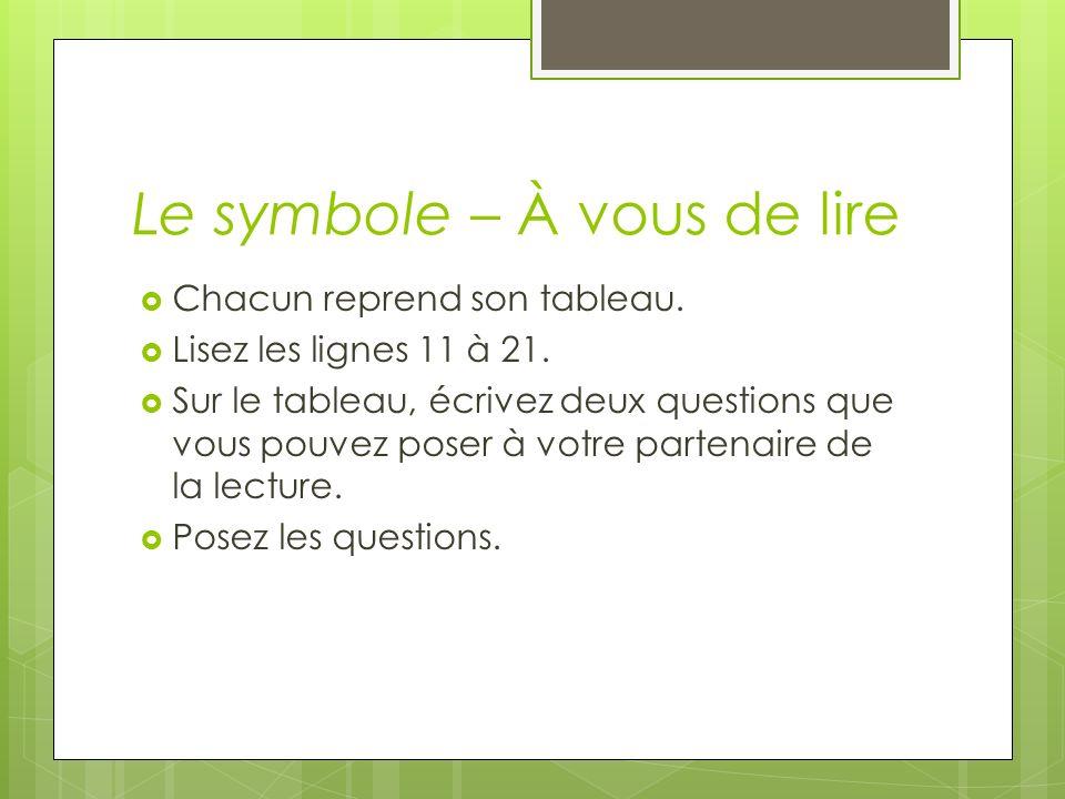 Le symbole – À vous de lire