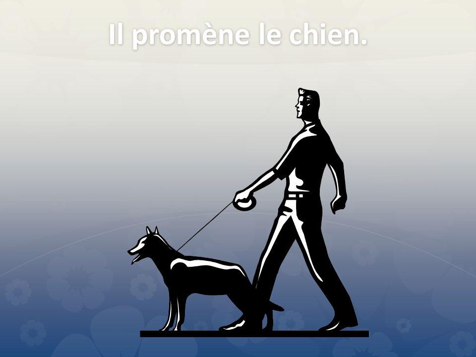 Il promène le chien.