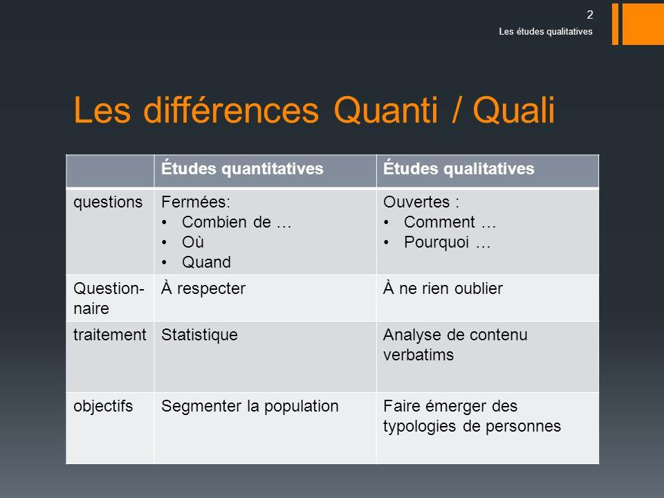Les différences Quanti / Quali