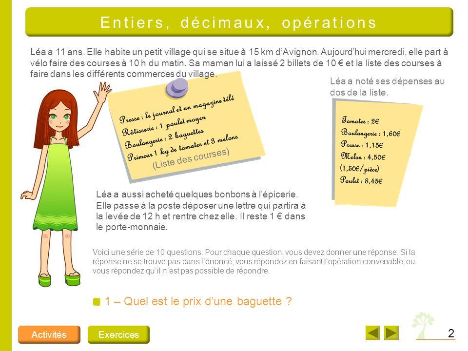 Entiers, décimaux, opérations
