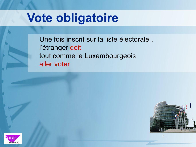 Vote obligatoire Une fois inscrit sur la liste électorale , l'étranger doit. tout comme le Luxembourgeois.