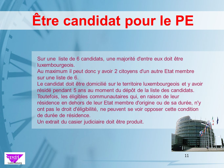 Être candidat pour le PE