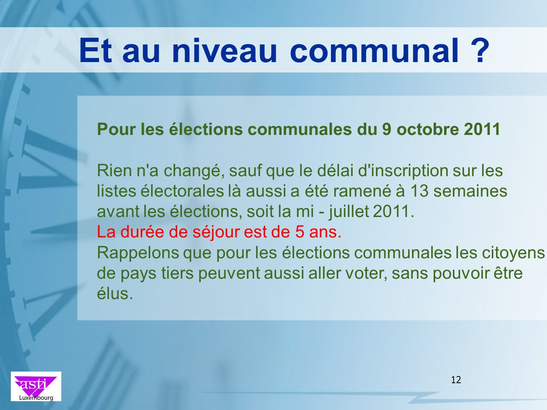 Et au niveau communal Pour les élections communales du 9 octobre 2011.