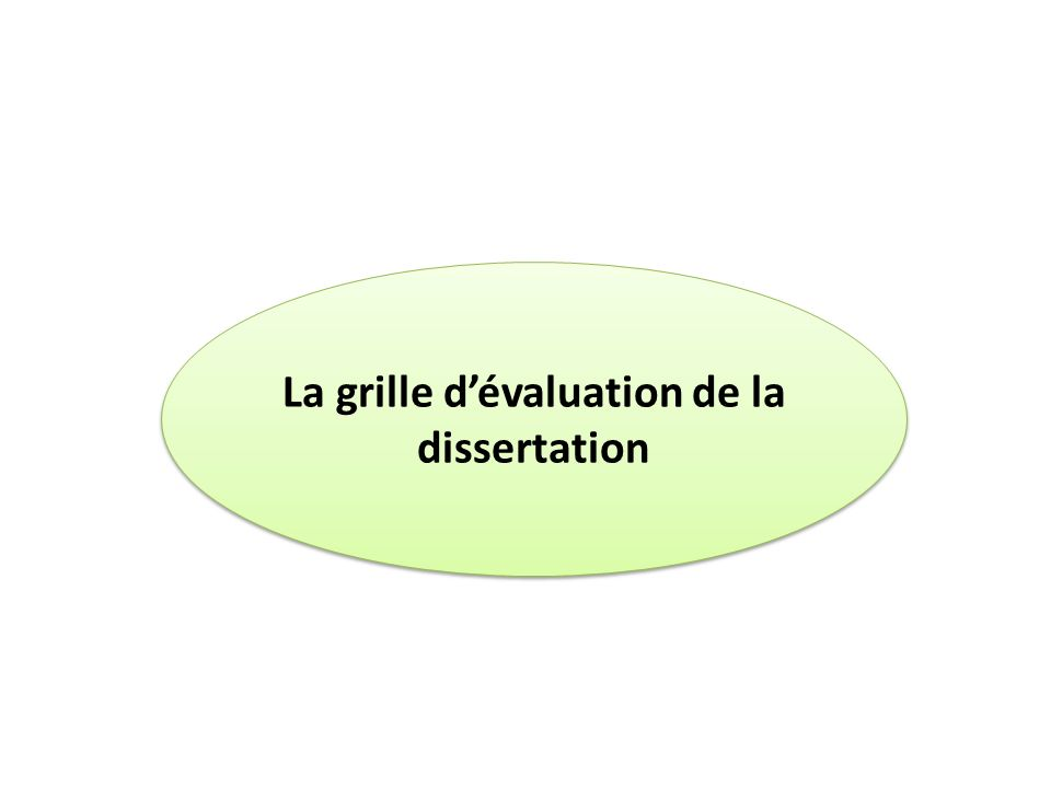 La grille d'évaluation de la dissertation