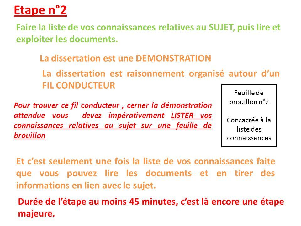 Etape n°2 Faire la liste de vos connaissances relatives au SUJET, puis lire et exploiter les documents.