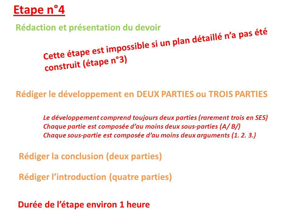 Etape n°4 Rédaction et présentation du devoir