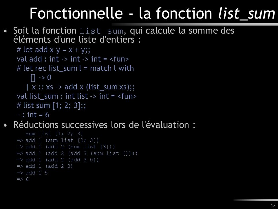 Fonctionnelle - la fonction list_sum
